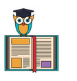 sketch silhouette image owl knowledge with cap vector image