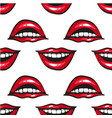 smile mouth with red lips and white teeth pop art vector image