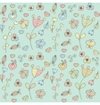 Abstract floral background with hearts and flowers vector image