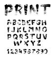 Texture font written with paint and brushes vector image