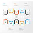 job flat icons set collection of pie bar vector image