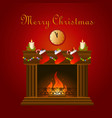 christmas decoration around fire vector image