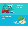 Summer time and travel concept Two banners or vector image