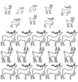 Deer coloring book page set silhouettes vector image