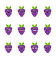 grape modern flat emoticon set vector image