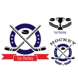 Ice hockey symbols or emblems set vector image vector image