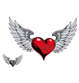 retro heart wings vector image