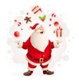 Merry Santa Claus juggles vector image vector image