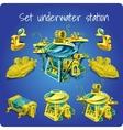 Set station underwater submarine motorcycle vector image