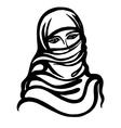 cartoon sketch of Muslim girl vector image
