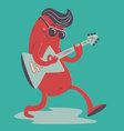 Crazy Sausage Playing Electric Guitar vector image
