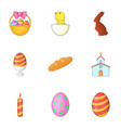 easter celebration icons set cartoon style vector image