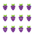 grape modern flat emoticon set vector image