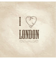 i love london lettering with floral heart shape vector image