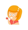 Little Red Head Girl In Red Dress Eating An Apple vector image