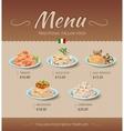 Pasta restaurant menu design template vector image