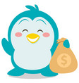 character penguin with money vector image