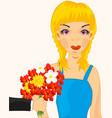 girl present flower vector image