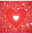 love and hearts doodles background vector image