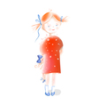 Little Girl Holding a Doll vector image