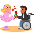 Boy on wheelchair and pretty girl vector image
