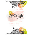calligraphy save the date watercolor vector image