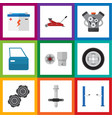 Flat auto set of automobile part belt tire and vector image