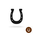 Horseshoe black simple silhouette sign with six vector image