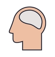 Silhouette head and human brain colorful vector image