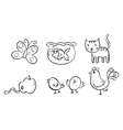 Six different doodle designs vector image vector image
