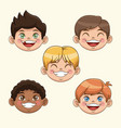 group of children boys happy faces celebration vector image