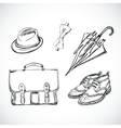 Gentleman Sketch Handdrawn Set vector image
