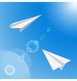 Paper planes flying in the sky vector