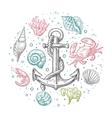 Set sea shell coral crab shrimp and anchor vector image