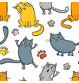 cartoon seamless pattern with cute cats vector image