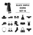 clothes set icons in black style big collection vector image