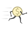 Dollar coin running isolated vector image