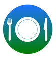 fork plate and knife white icon in vector image