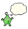 funny cartoon creature with thought bubble vector image