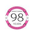 Ninety eight years anniversary celebration logo vector image