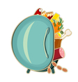 refrigerator with food vector image