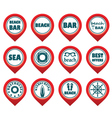 Set of beach map pointers vector image