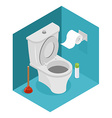 Toilet isometrics White toilet and plunger Roll of vector image