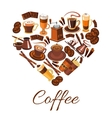 Coffee love label in shape of heart vector image vector image