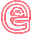 lowercase letter e drawing with Red Marker vector image