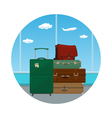 Icon Suitcases and Bag against the Window vector image