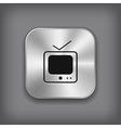 TV icon - metal app button vector image vector image