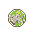 Builder Carpenter Holding Hammer Circle Retro vector image