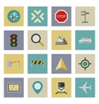 GPS and navigation flat icons set vector image