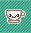 cute kawaii smiling coffee cup cartoon icon vector image